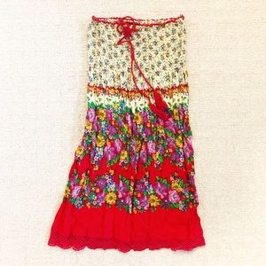Boho smocked & strapless floral mini dress